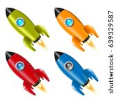 set. 4. rocket. spaceship.... | Shutterstock .eps vector #639329587