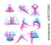 aero yoga watercolor icons.... | Shutterstock .eps vector #639371383