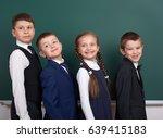 elementary school boy near... | Shutterstock . vector #639415183