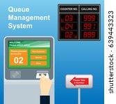 queue ticket dispenser and...   Shutterstock .eps vector #639443323
