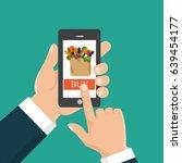 buy food online. flat vector... | Shutterstock .eps vector #639454177