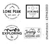 hiking logotypes in vintage... | Shutterstock .eps vector #639463003