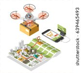 drone with a box flying in the... | Shutterstock .eps vector #639465493