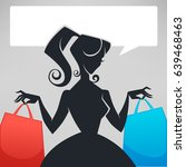 retro lady  shopping bags and... | Shutterstock .eps vector #639468463