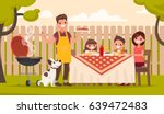 Happy family at a picnic is preparing a barbecue grill outdoors. Vector illustration in a flat style | Shutterstock vector #639472483
