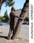 Small photo of TIRANA, ALBANIA - SEPTEMBER 29: Statue on boulevard Bulevardi Deshmoret e Kombit in Tirana, Albania on September 29, 2016.