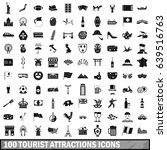100 tourist attractions icons...   Shutterstock . vector #639516763