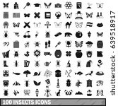100 insects icons set in simple ... | Shutterstock . vector #639518917