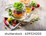 healthy mason jar salad with... | Shutterstock . vector #639524203