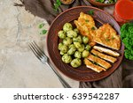 schnitzel with potatoes and...   Shutterstock . vector #639542287