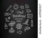 nautical hand drawn doodle... | Shutterstock .eps vector #639583327