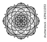 black mandala tattoo vector... | Shutterstock .eps vector #639611053