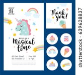 magical time card set. card ... | Shutterstock .eps vector #639628837