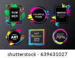 set of vector hand painted... | Shutterstock .eps vector #639631027