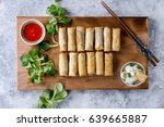 fried spring rolls with red and ... | Shutterstock . vector #639665887