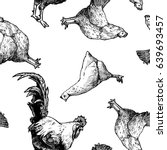 seamless pattern with hen and... | Shutterstock .eps vector #639693457
