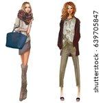 cute fashion cartoon girls in... | Shutterstock . vector #639705847