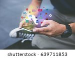 mobile application concept... | Shutterstock . vector #639711853