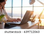 concentrated female employee... | Shutterstock . vector #639712063