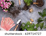 gardening tools on dark wooden... | Shutterstock . vector #639714727