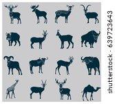 set of simple hoofed animals... | Shutterstock .eps vector #639723643