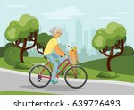 senior woman on bike in the... | Shutterstock .eps vector #639726493