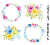 colorful floral collection with ... | Shutterstock . vector #639756007