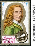 Small photo of MOSCOW, RUSSIA - JUNE 05, 2016: A stamp printed in Dubai shows Francois Marie Arouet de Voltaire (1694-1778), writer, portraits, 1971