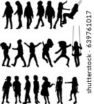 vector silhouette of children... | Shutterstock .eps vector #639761017