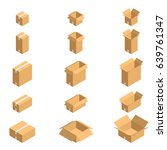 cardboard boxes isometric style ... | Shutterstock .eps vector #639761347