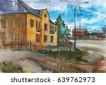 Landscape Of A Small Town With...