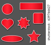 red stickers with white stroke ... | Shutterstock .eps vector #639766627