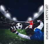 goalkeeper catches the ball in... | Shutterstock . vector #639771187