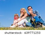 mommy  daddy and little girl... | Shutterstock . vector #639771253