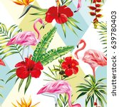 beach cheerful seamless pattern ... | Shutterstock .eps vector #639780403