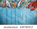 fresh tasty seafood served on... | Shutterstock . vector #639783517