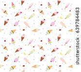 ice cream pattern background.... | Shutterstock . vector #639784483