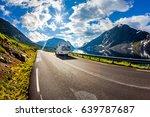 caravan car travels on the... | Shutterstock . vector #639787687