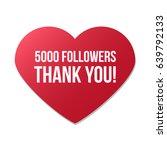 5000 followers red heart logo...   Shutterstock .eps vector #639792133