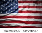 closeup of rippled american flag | Shutterstock . vector #639798487