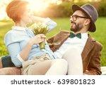 young couple in love walking in ... | Shutterstock . vector #639801823