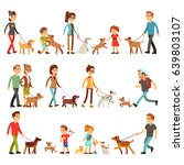 Stock vector happy people with pets women men and children playing with dogs and puppes 639803107
