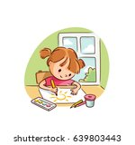 little girl drawing | Shutterstock .eps vector #639803443