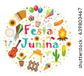 festa junina set of icons in a... | Shutterstock .eps vector #639803467