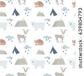 seamless forest animals... | Shutterstock .eps vector #639804793