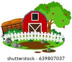 farm scene with barn and apple
