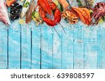 whole lobster with seafood ... | Shutterstock . vector #639808597