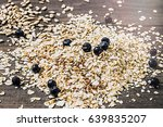 rolled oats  sunflower and flax ...   Shutterstock . vector #639835207
