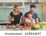 family cooking meal food... | Shutterstock . vector #639843697