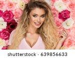 beautiful blonde girl in pink... | Shutterstock . vector #639856633